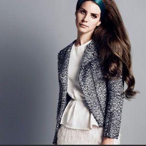 H&M Metallic Tweed Moto Jacket Size 6